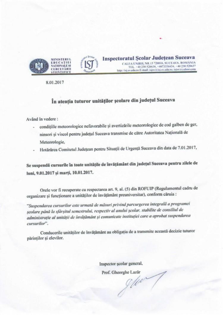 Se suspendă cursurile în toate unităţile de învăţământ din judeţul Suceava